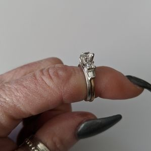 Two Birch Jewelry - 14k Gold Solitaire w/ Two Birch ring guard, 6.5
